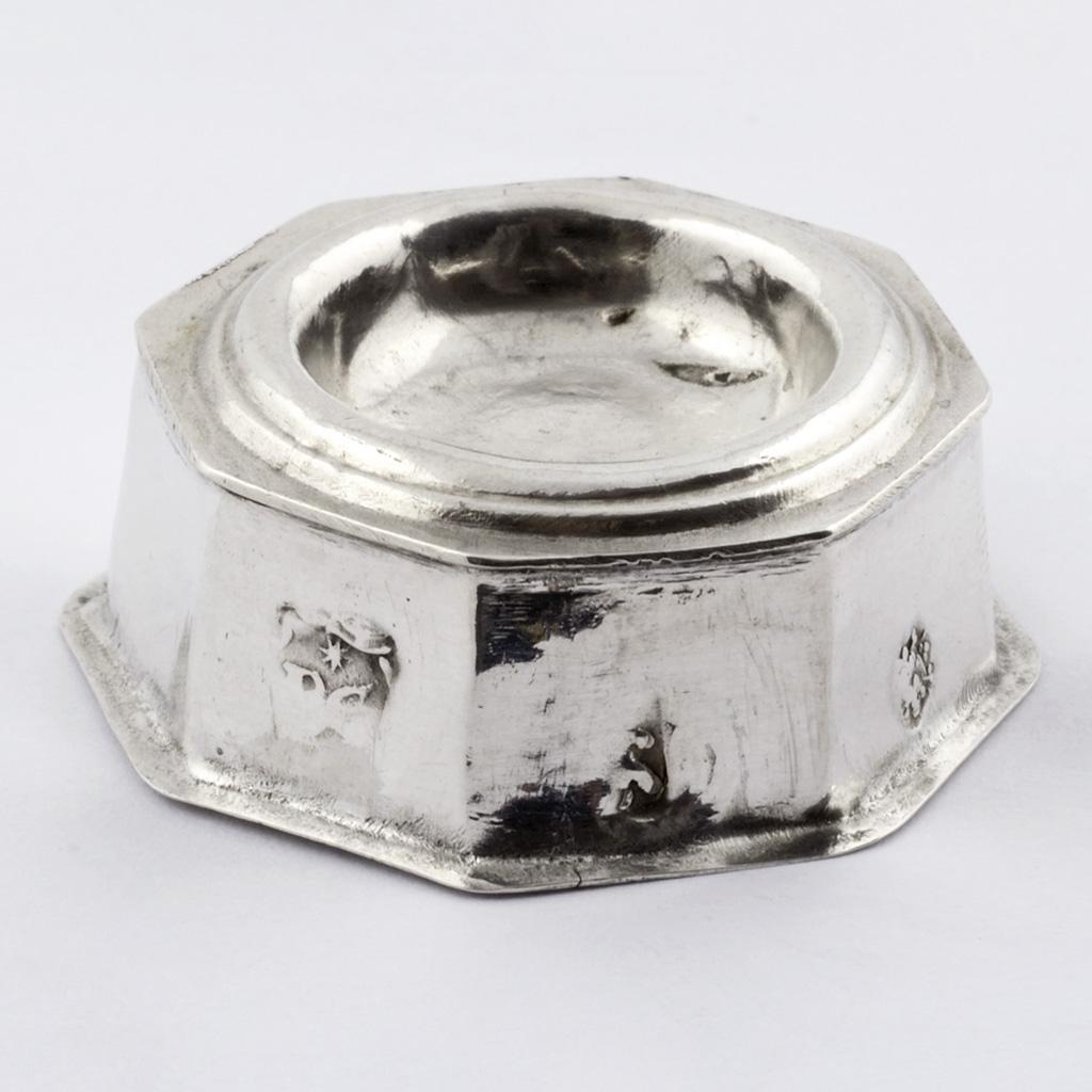 A Late 17th Century English Toy Silver Salt Cellar.