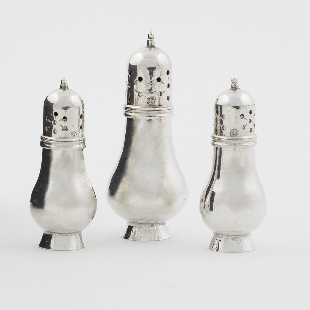 A Set Of Three Early 18th Century English Toy Silver Casters.