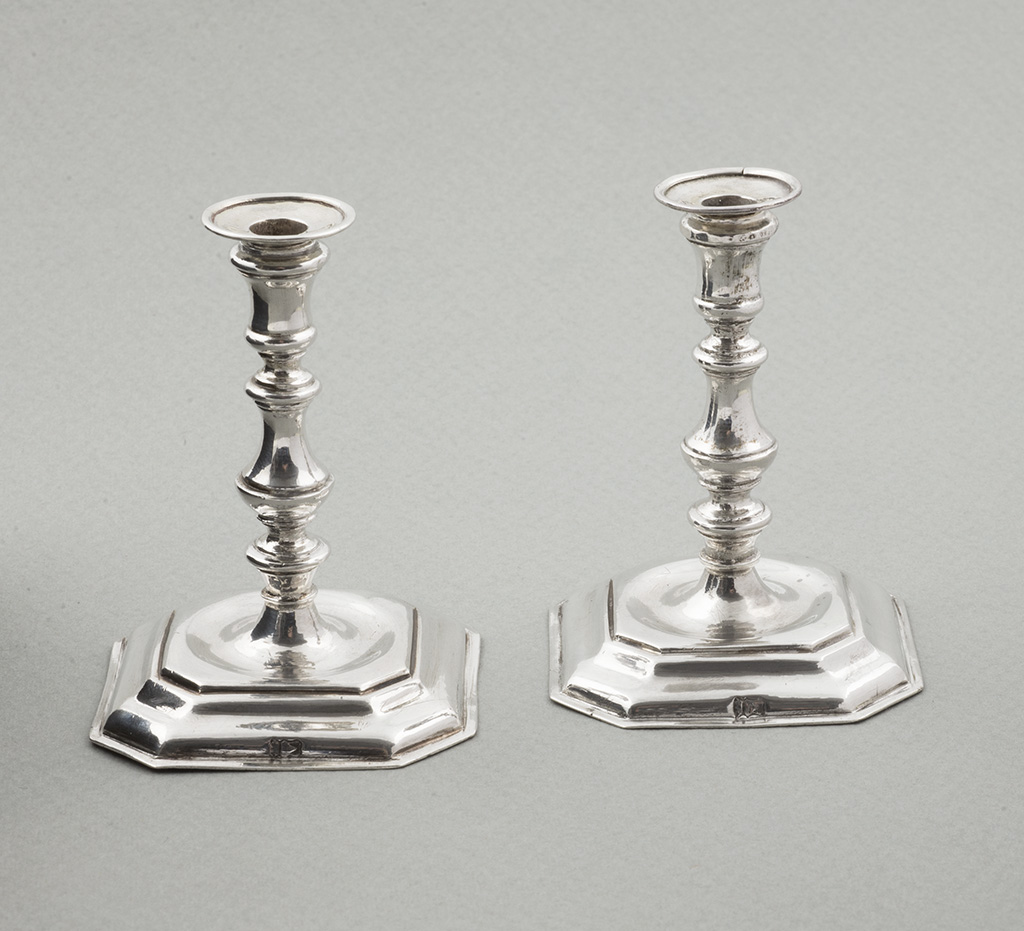 A Pair Of 18th Century Dutch Toy Silver Candlesticks.