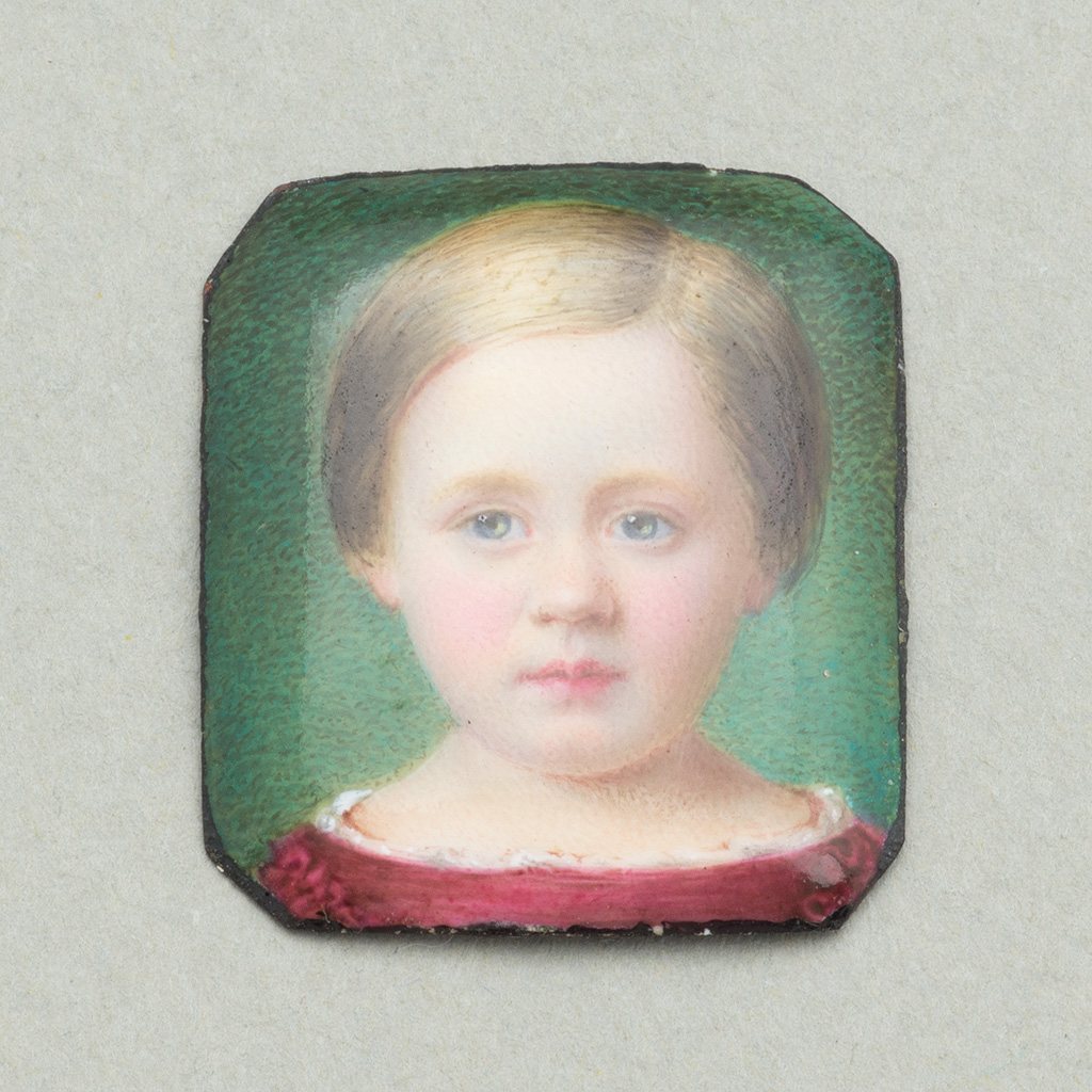 A Small Victorian Enamel Portrait Of Herbert Cummings Simpson.