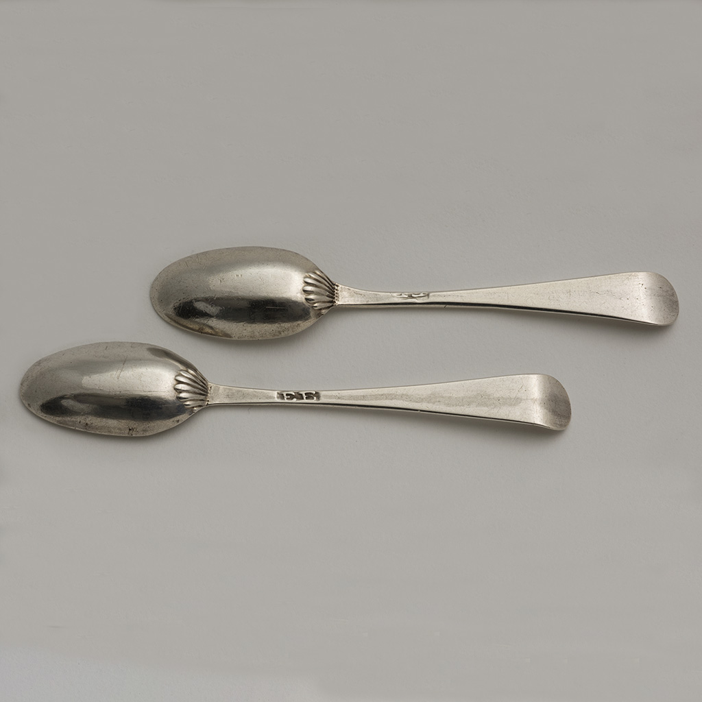 A Pair Of Mid-18th Century Silver Snuff Spoons.