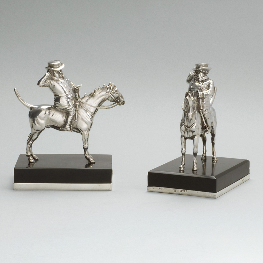 Two Victorian Silver Jorrocks Paperweights.