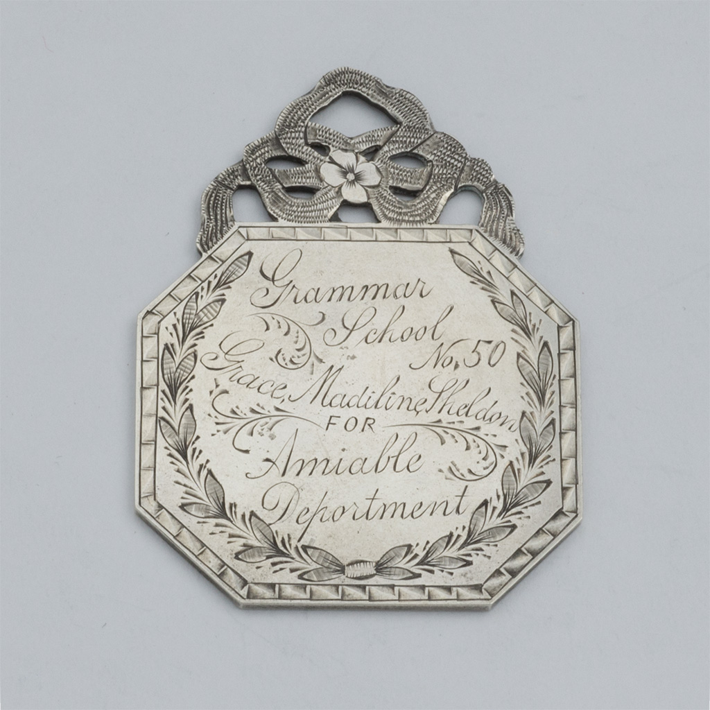 A 19th Century American Silver School Prize Medal.