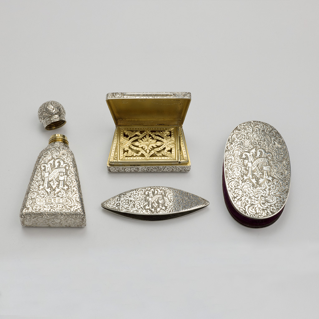 A Group Of Silver Pieces For A Victorian Ladies' Necessaire.