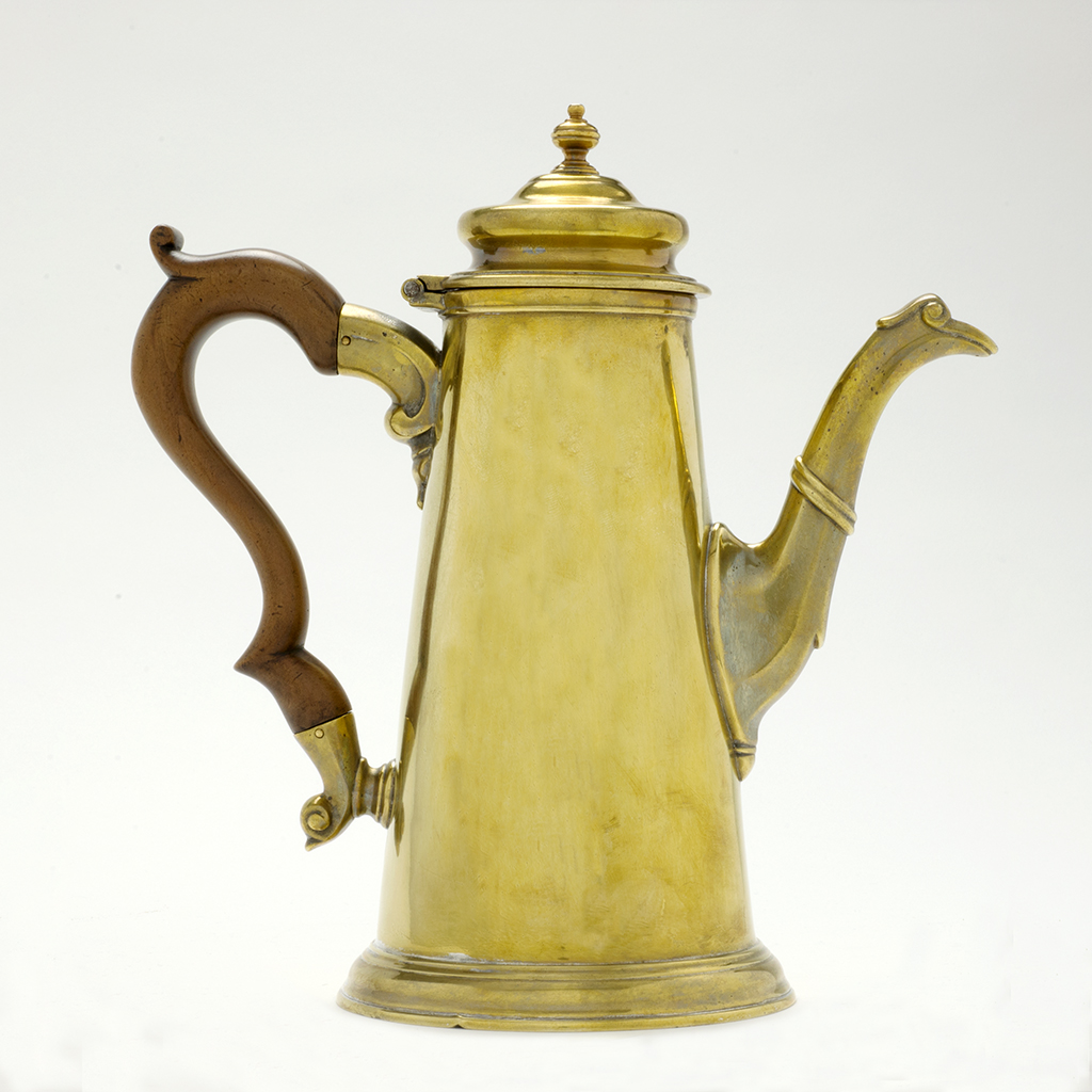 A George II 'French Plate' Brass Coffee Pot.