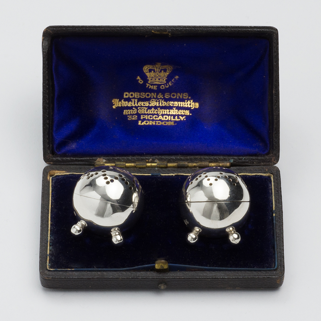 A Pair Of Victorian Silver Miniature Condiments.
