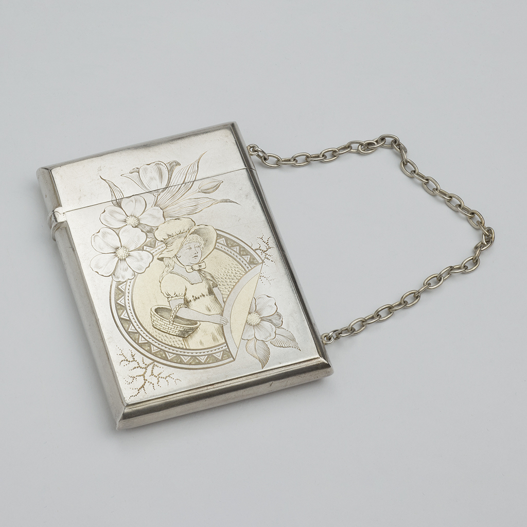 A 19th Century American Silver Card Case.