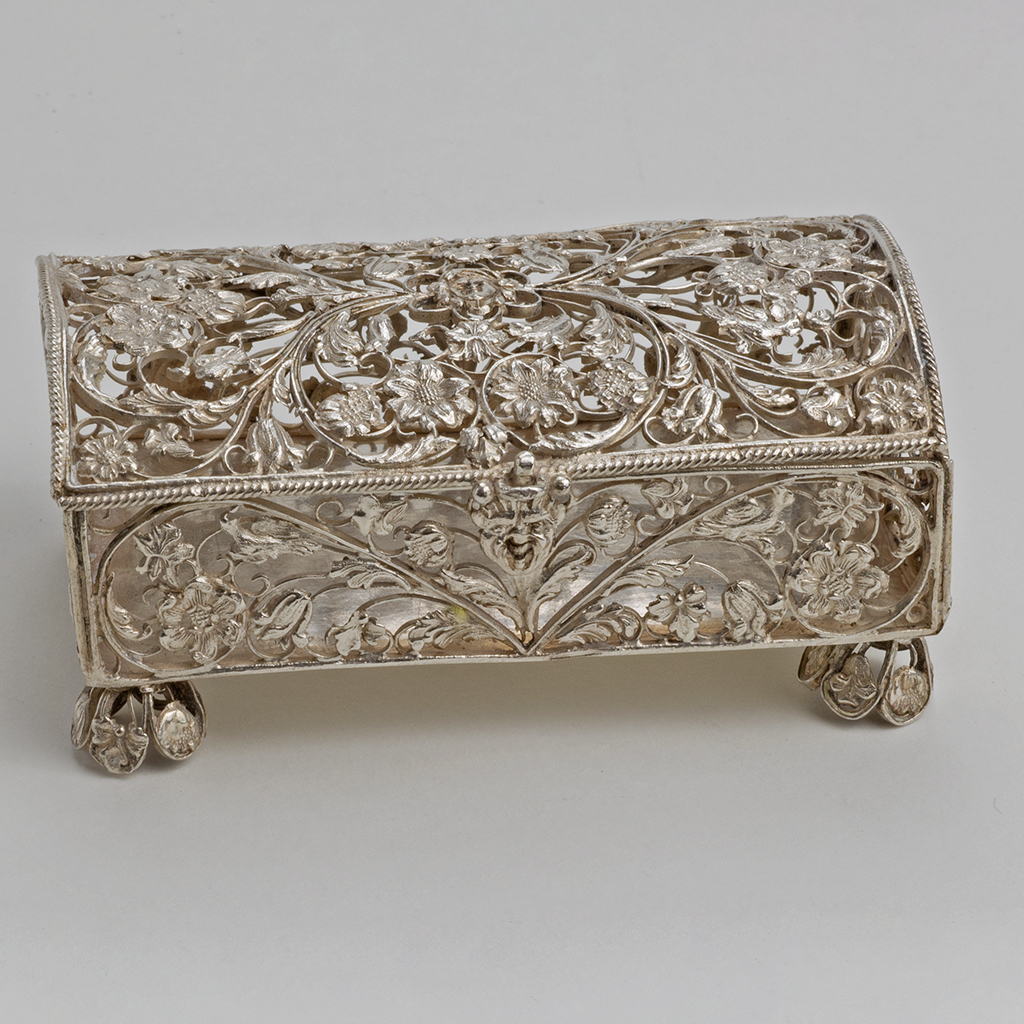 A 17th Century English Silver Filigree Casket.