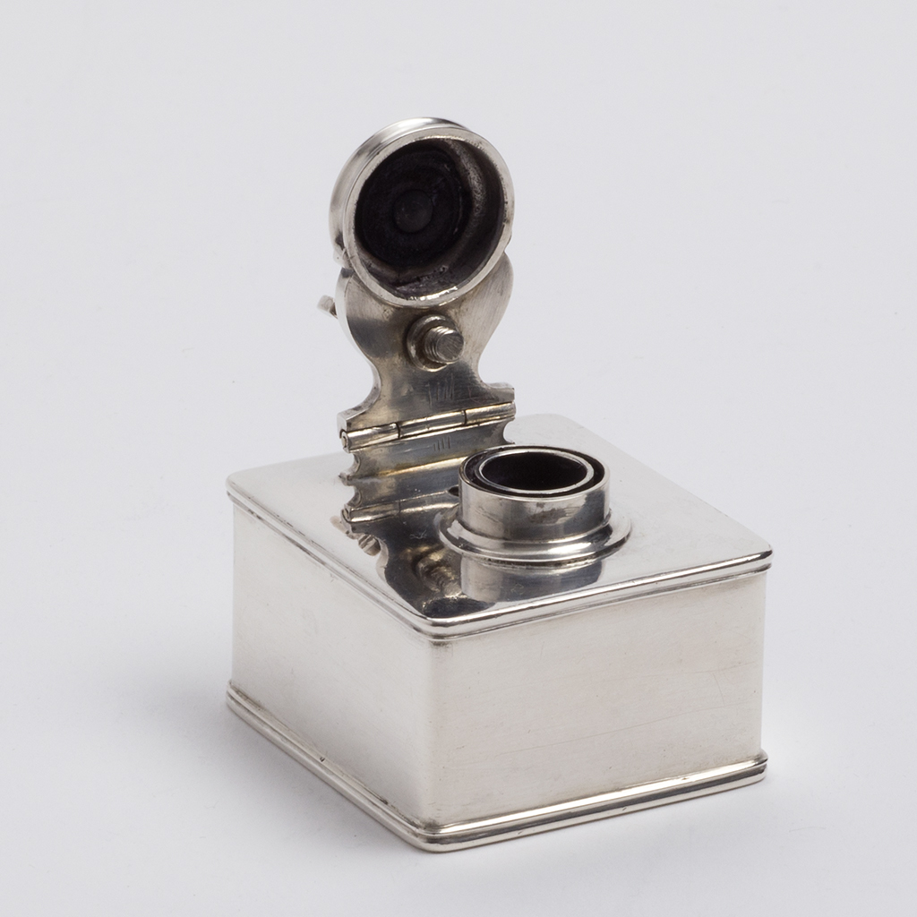 A Russian Silver Travelling Inkwell.