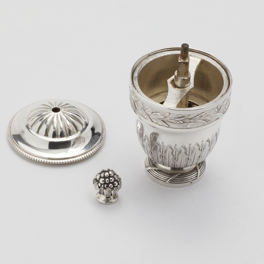 A 19th Century French Silver Pepper Grinder.