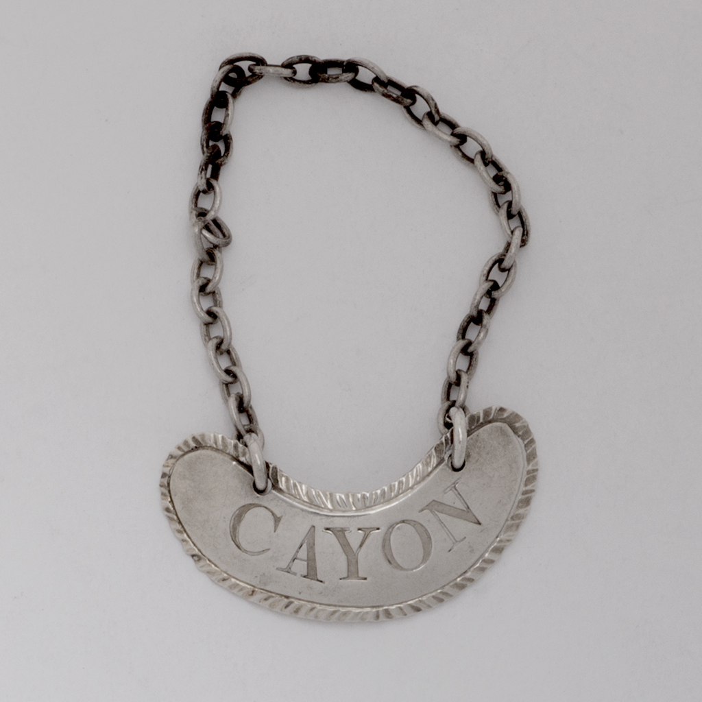 An Unmarked 18th Century Silver Sauce Label For Cayon.