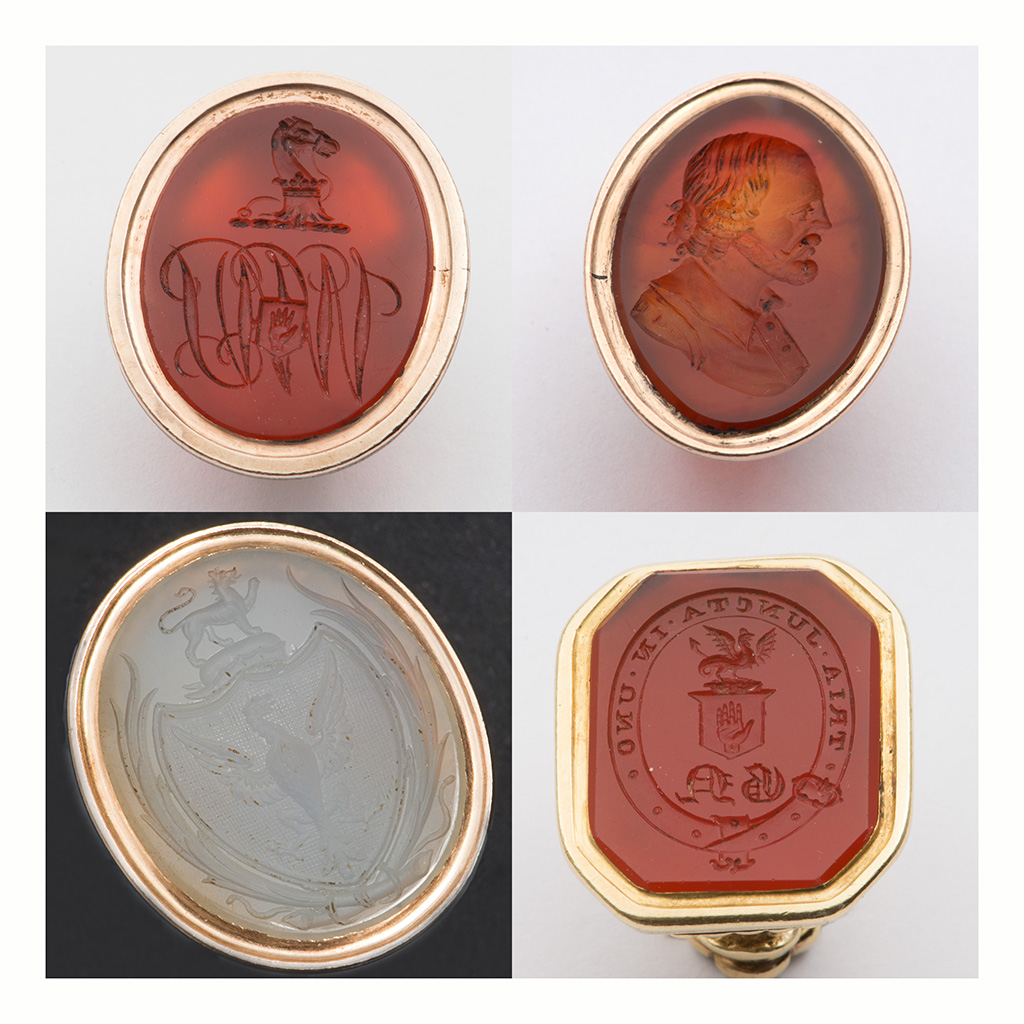 A Family Group Of Antique Gold Seals