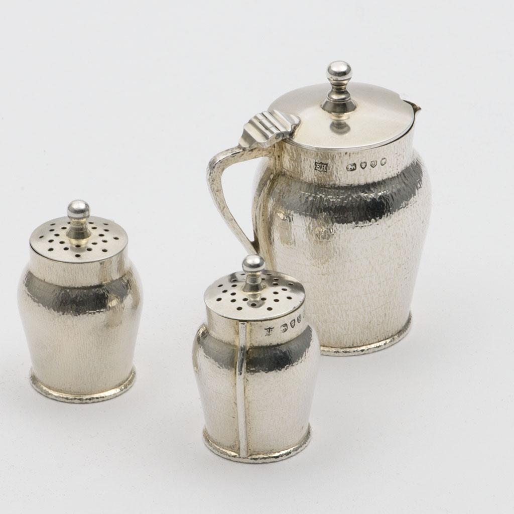 A Victorian Silver Novelty Three-piece Condiment Set.