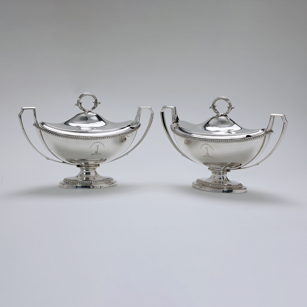 A Pair Of George III Sauce Tureens By Paul Storr And Made For A Chief Clerk Of Ireland.