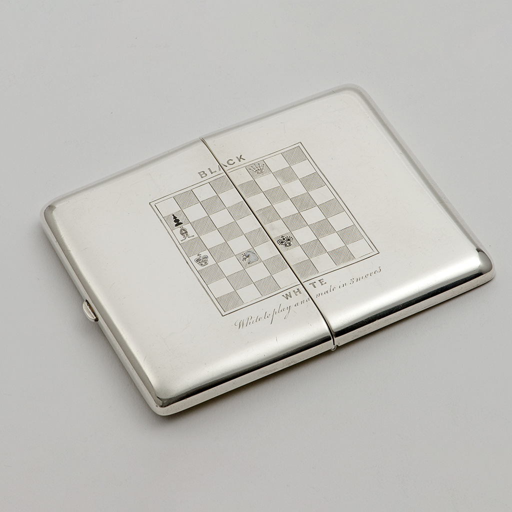 A Victorian Silver Cigarette Case For A Chess Player.