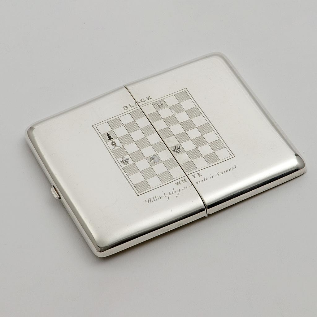 A Victorian Silver Cigarette Case For A Chess Player.
