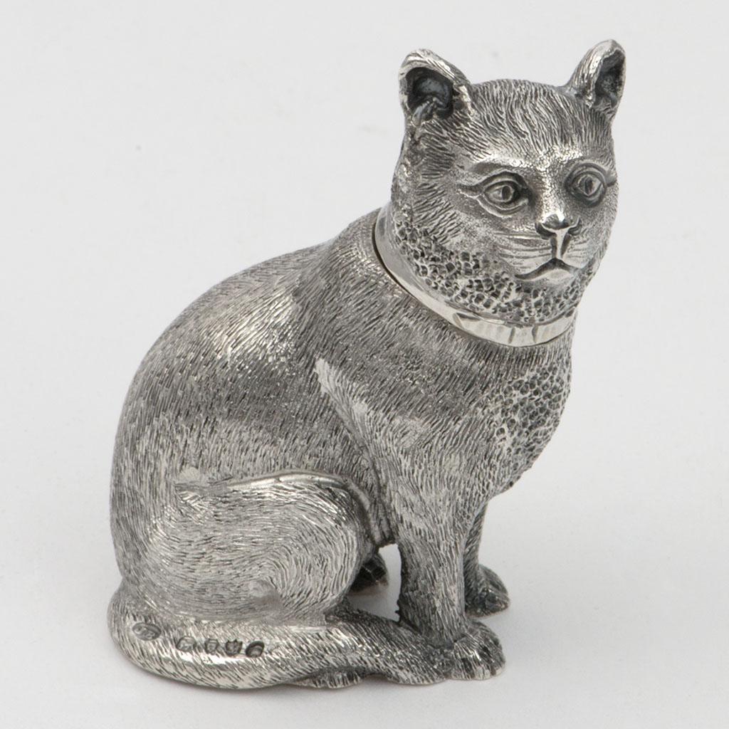 A Victorian Silver Novelty Cat Pepper Pot.