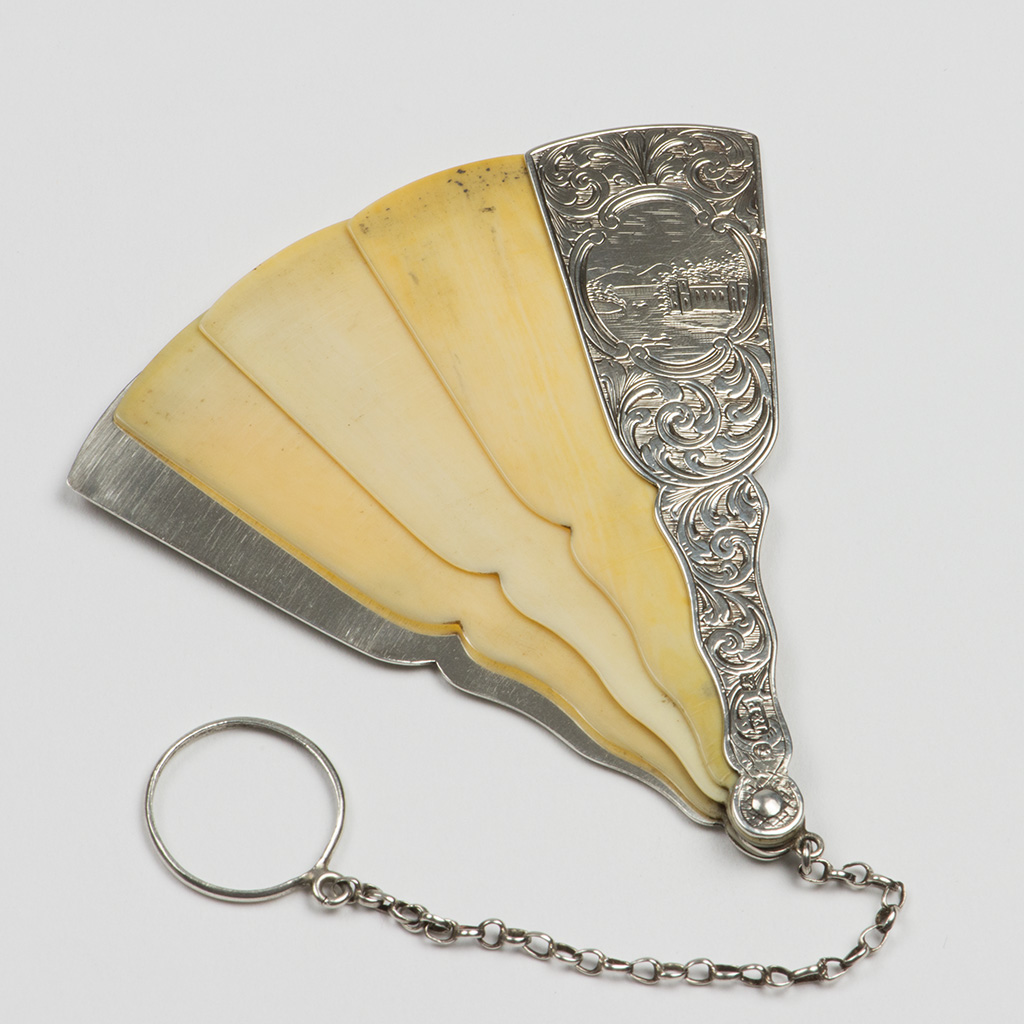 A Victorian Silver Fan-shaped Aide Memoire.