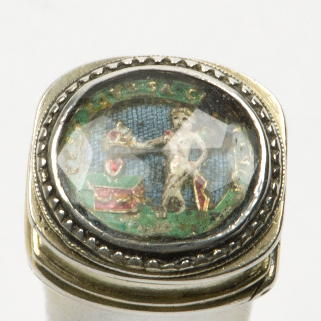 An Early 18th Century Unmarked Silver-gilt Sealing Wax, Or Bodkin, Case.