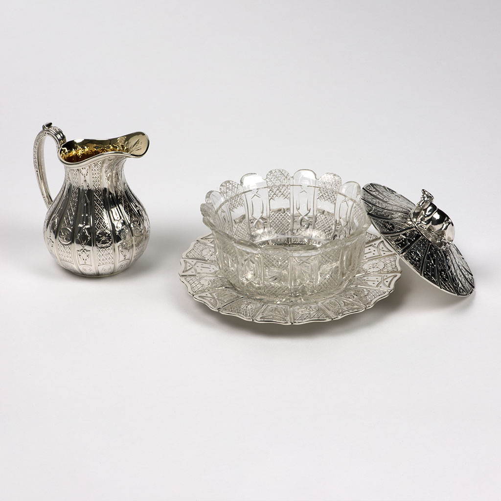 A Good Victorian Silver Butter Dish And Milk Jug.