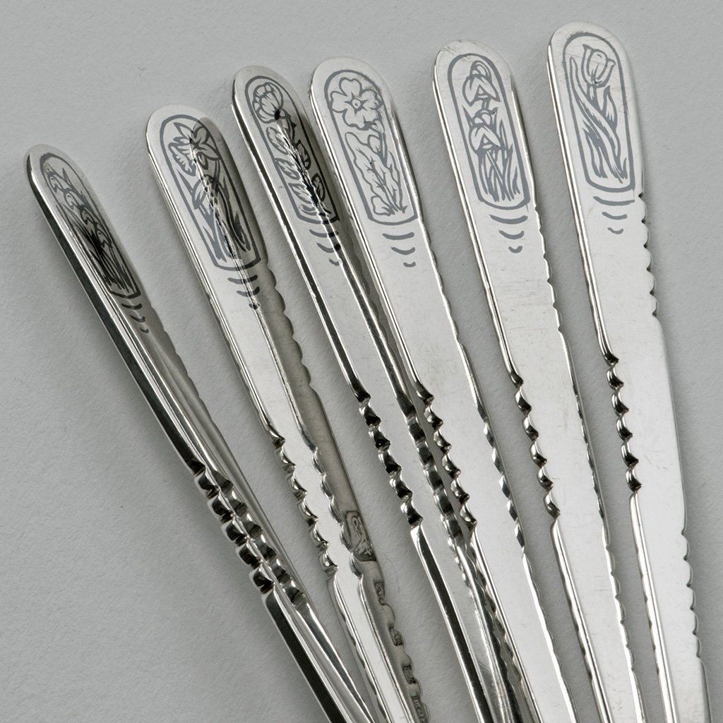 A Set Of Six Silver Spoons By H.G. Murphy.