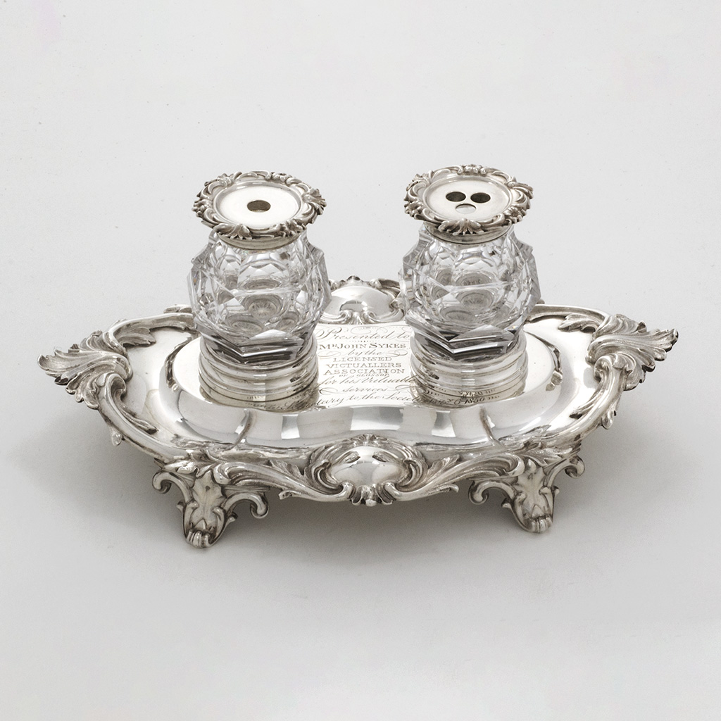 An Early  Victorian Silver And Glass Inkstand.