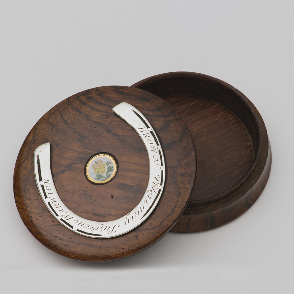 A Victorian Vet's Wood And Silver Snuffbox.