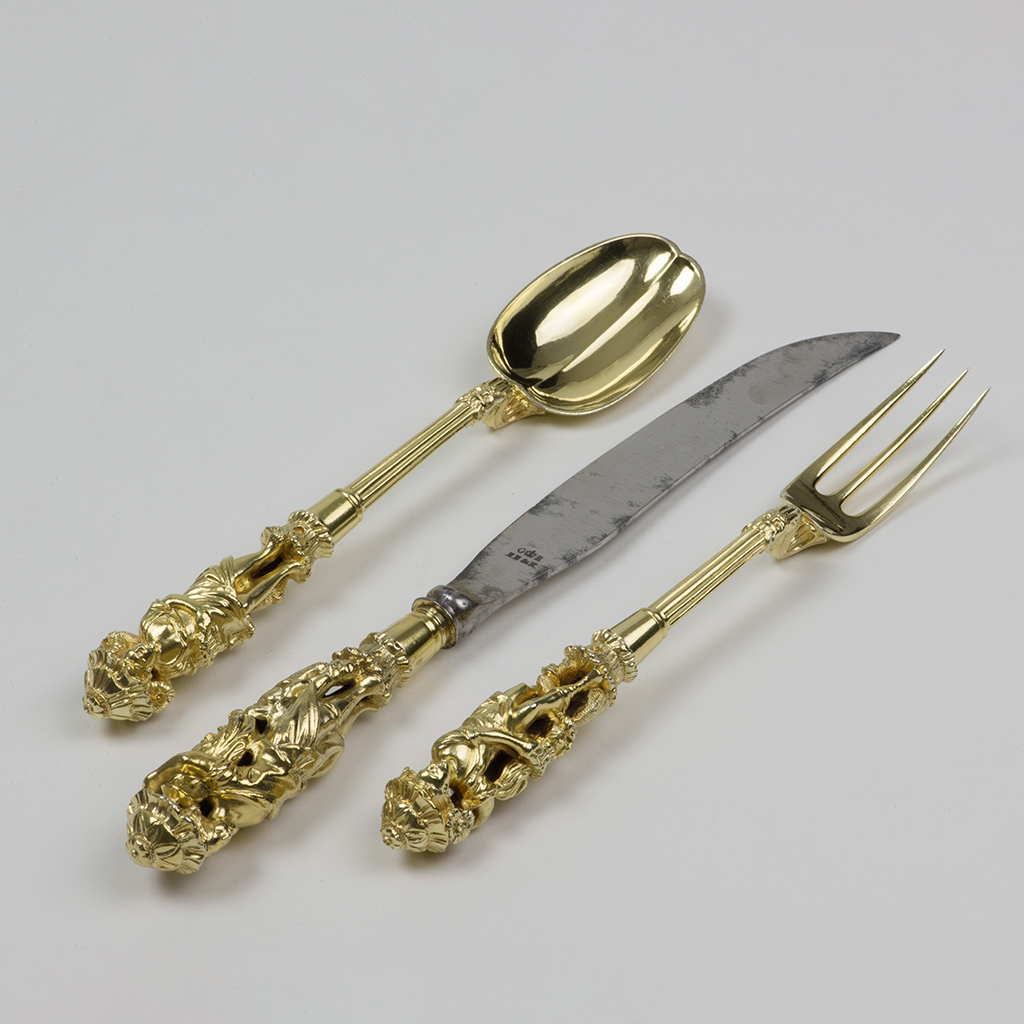 A George IV Silver-gilt Knife, Fork And Spoon Supplied By Rundell, Bridge.