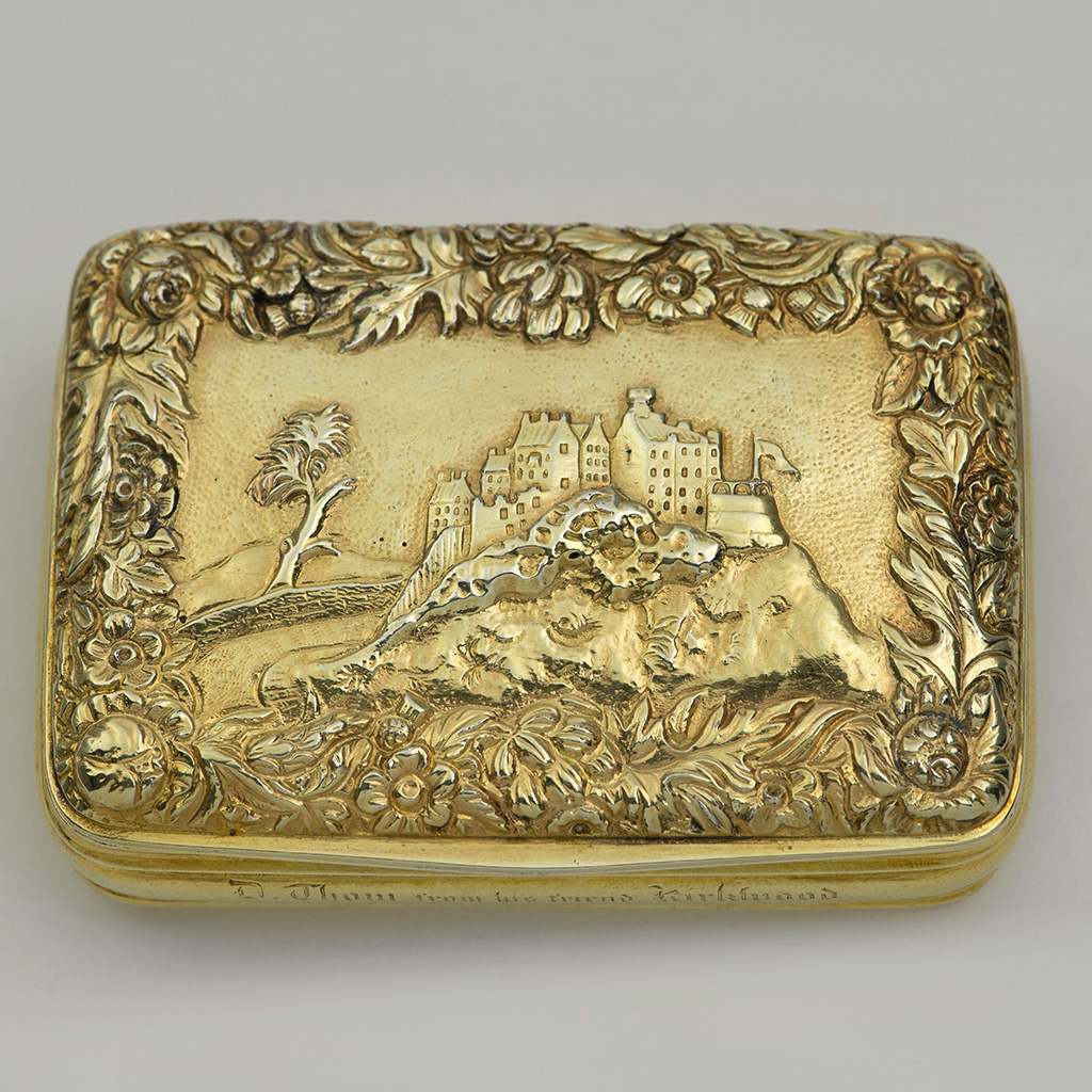A George III Silver-gilt Scottish Snuffbox With A Scenic Lid.
