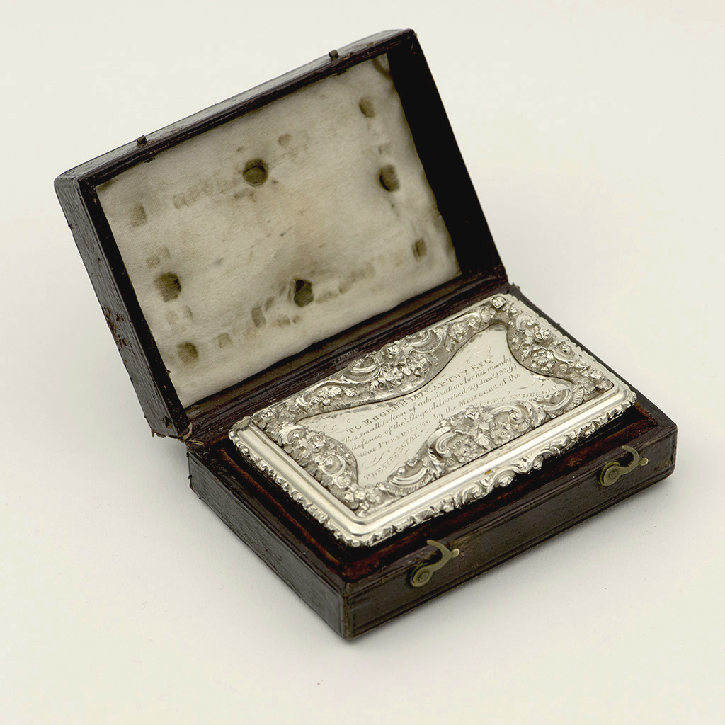A Victorian Silver Snuffbox For An Irish Actor-Manager.