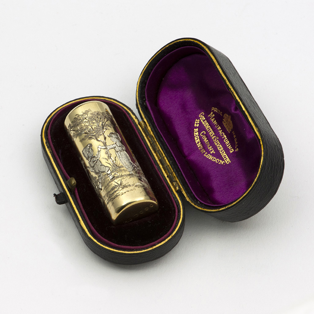 A Victorian Parcel-gilt Silver Scent Bottle With Kate Greenaway Engraving.