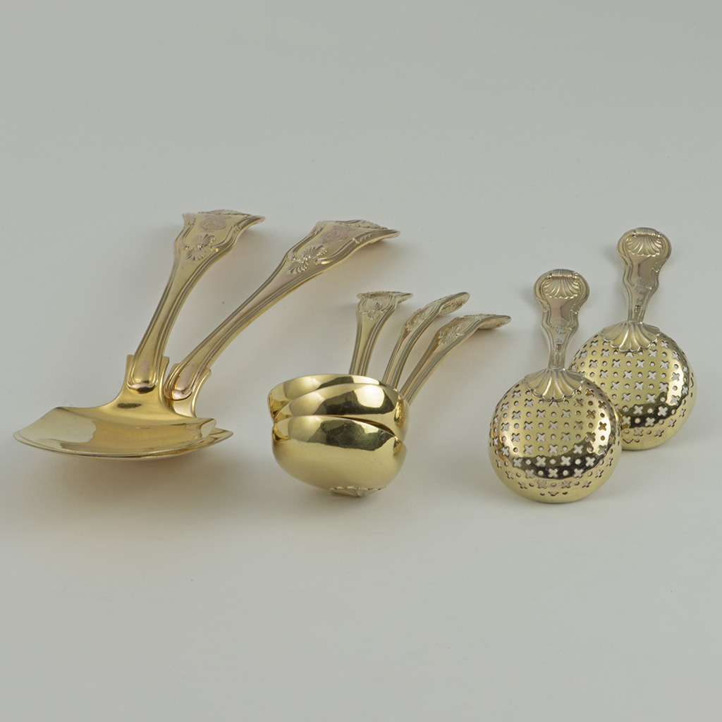 George III Silver-gilt Dessert Servers With The Royal Crest.