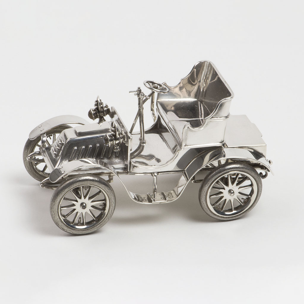 An Edwardian Novelty Silver Inkwell And Stamp Box In The Form Of An Automobile.