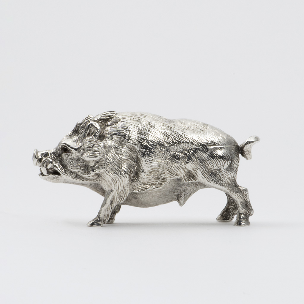 A Victorian Novelty Silver Pepper Pot Formed As A Boar.