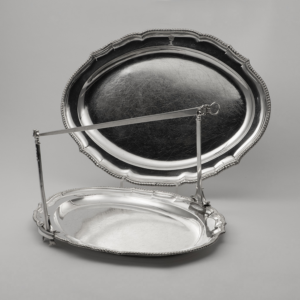 Two Large George III Silver Serving Dishes From Lord King's Dinner Service, With A 'Beef Machine'.