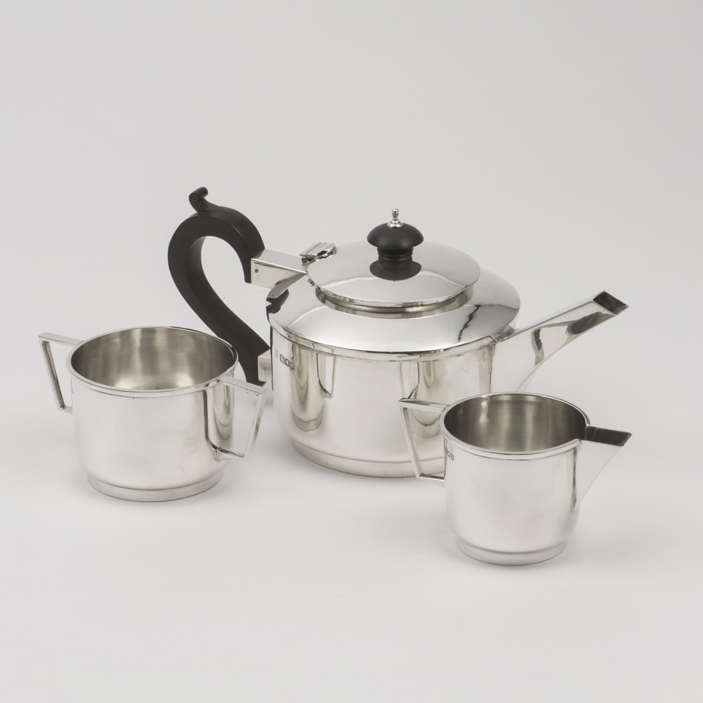 A Silver Three Piece Teaset By Frank Finley Clarkson.