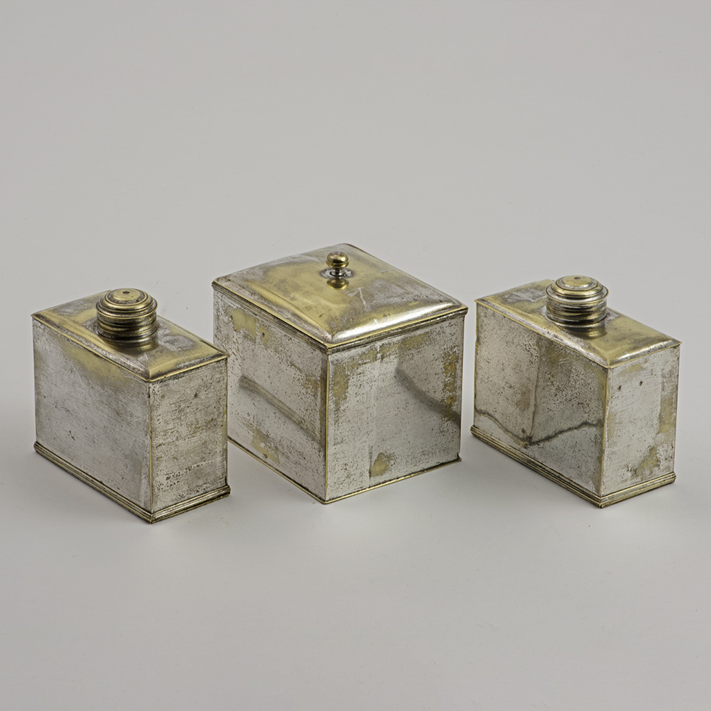 A Rare Set Of 'French Plate' [silvered Brass] English Caddies.