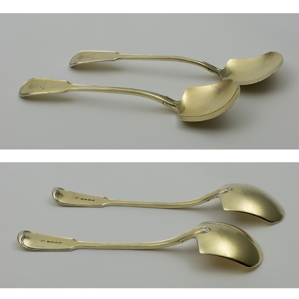 A Pair Of George III Ice Cream Serving Spades For Baron Stewart.