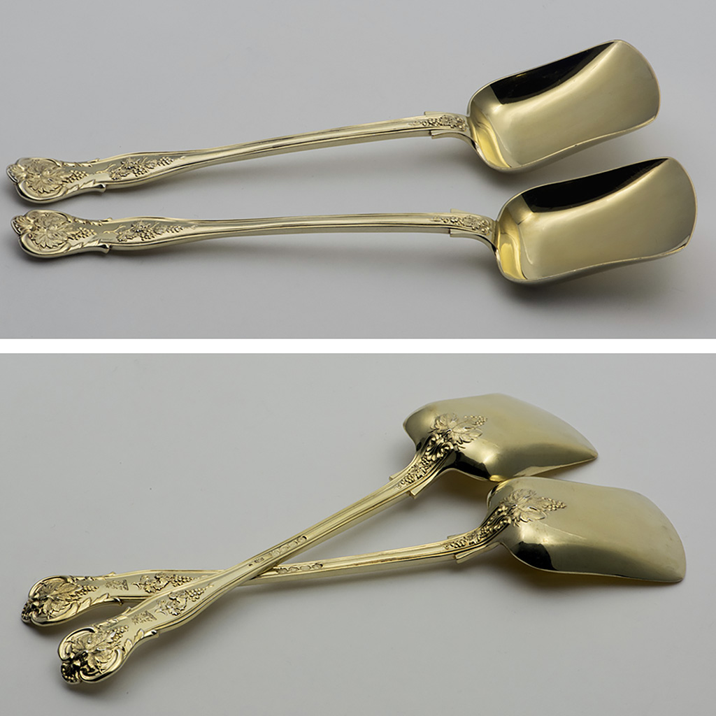 A Pair Of Victorian Silver-gilt Vine Pattern Ice Cream Spades And Sifting Spoons To Match.