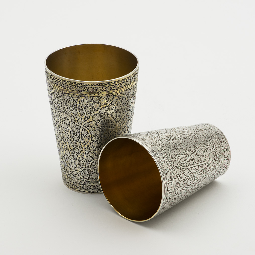 Two 19th Century Kashmir Silver Beakers.