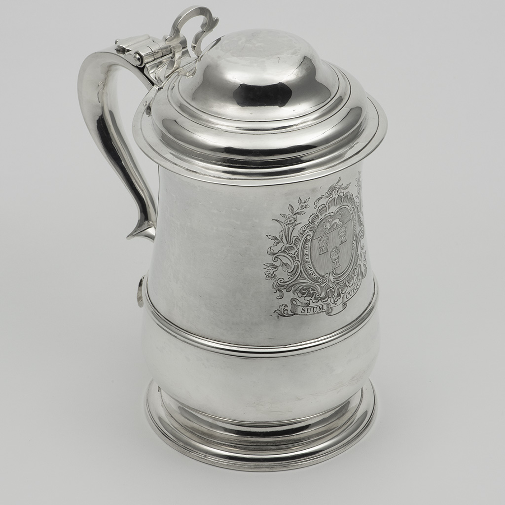 A Very Large George II Silver Lidded Tankard.
