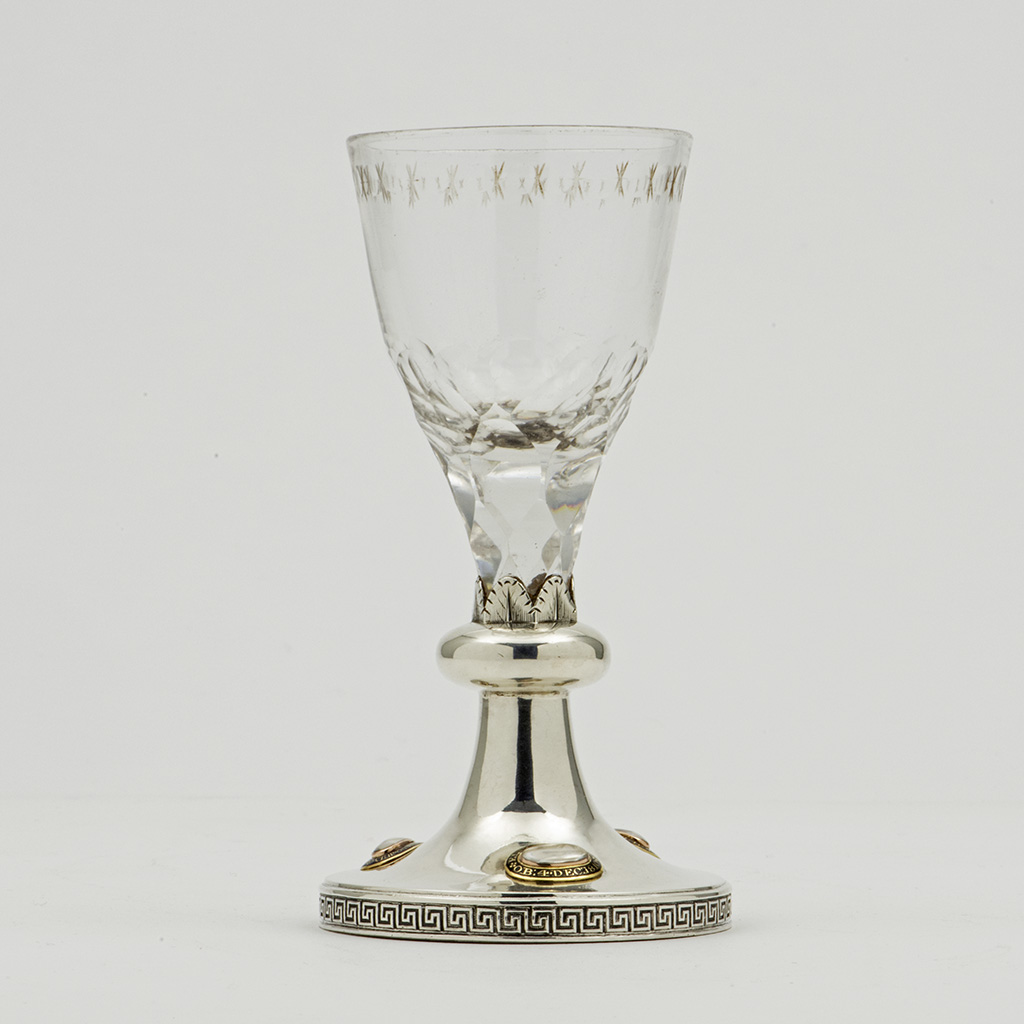 A George III Silver Mounted Drinking Glass For Edward Charles Howard.
