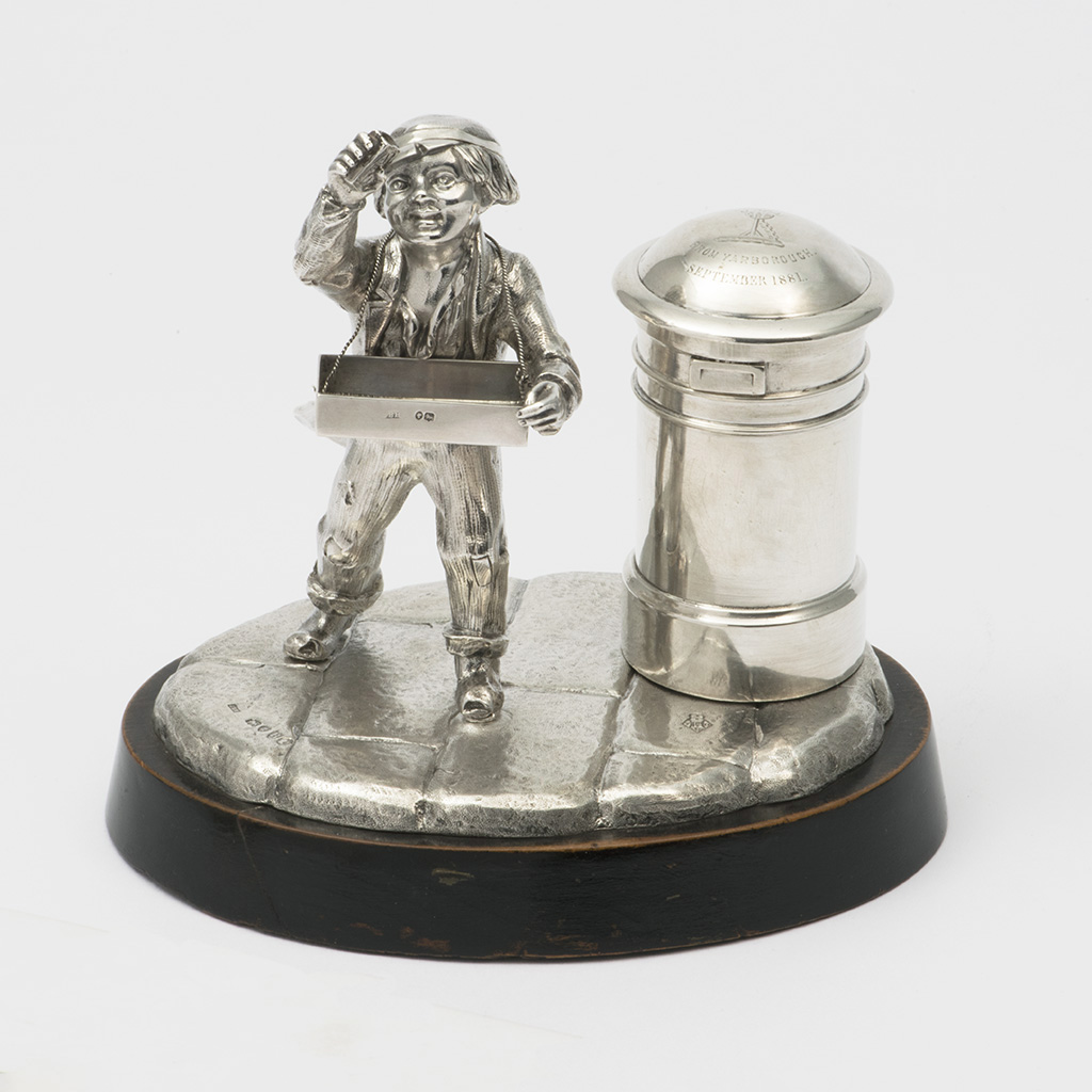 A Victorian Novelty Silver Table Lighter And Match Holder For Sir Arthur Scott.