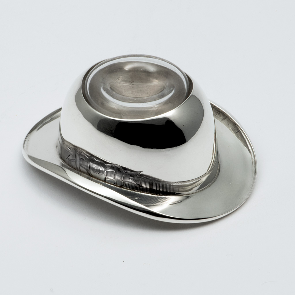A Victorian Silver Bowler Hat Inkwell.