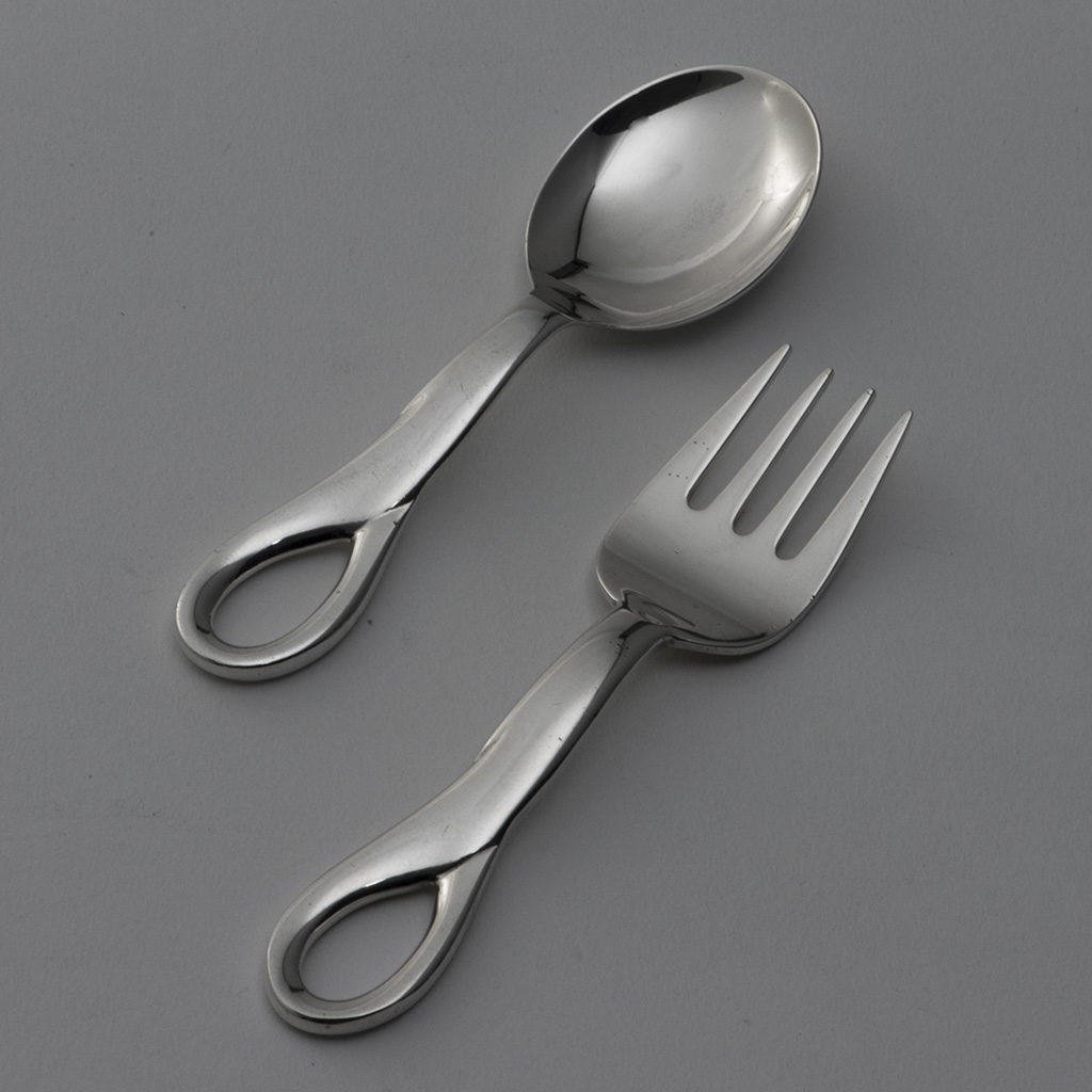 A Tiffany Silver Child's Spoon And Fork.