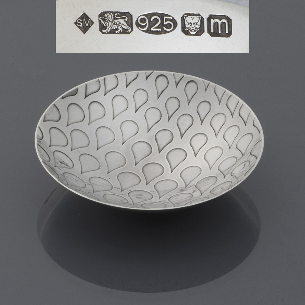 A Small Silver 'droplet' Dish By Siân Matthews.
