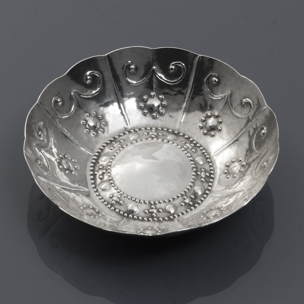 A Small Arts And Crafts Silver Dish By Enid Kelsey.
