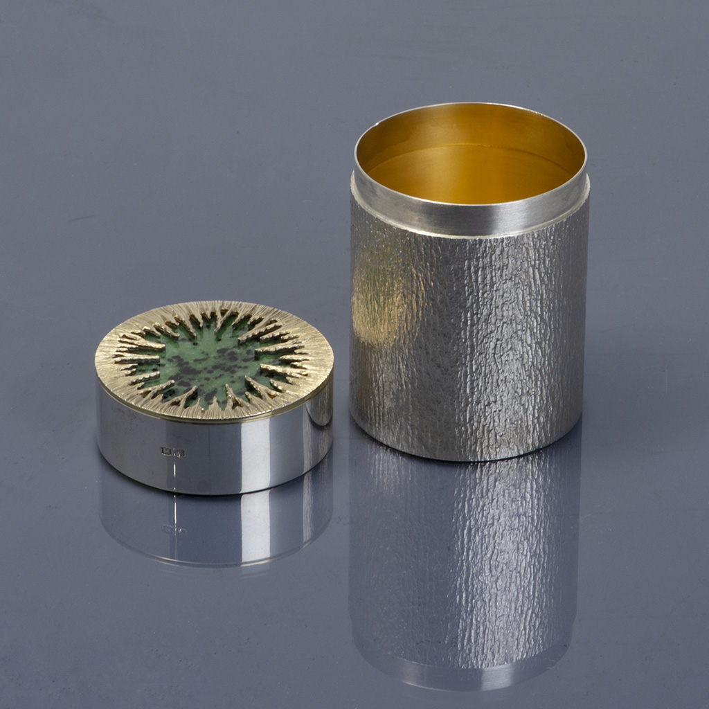 A 20th Century Silver Cylindrical Box By Mappin And Webb.