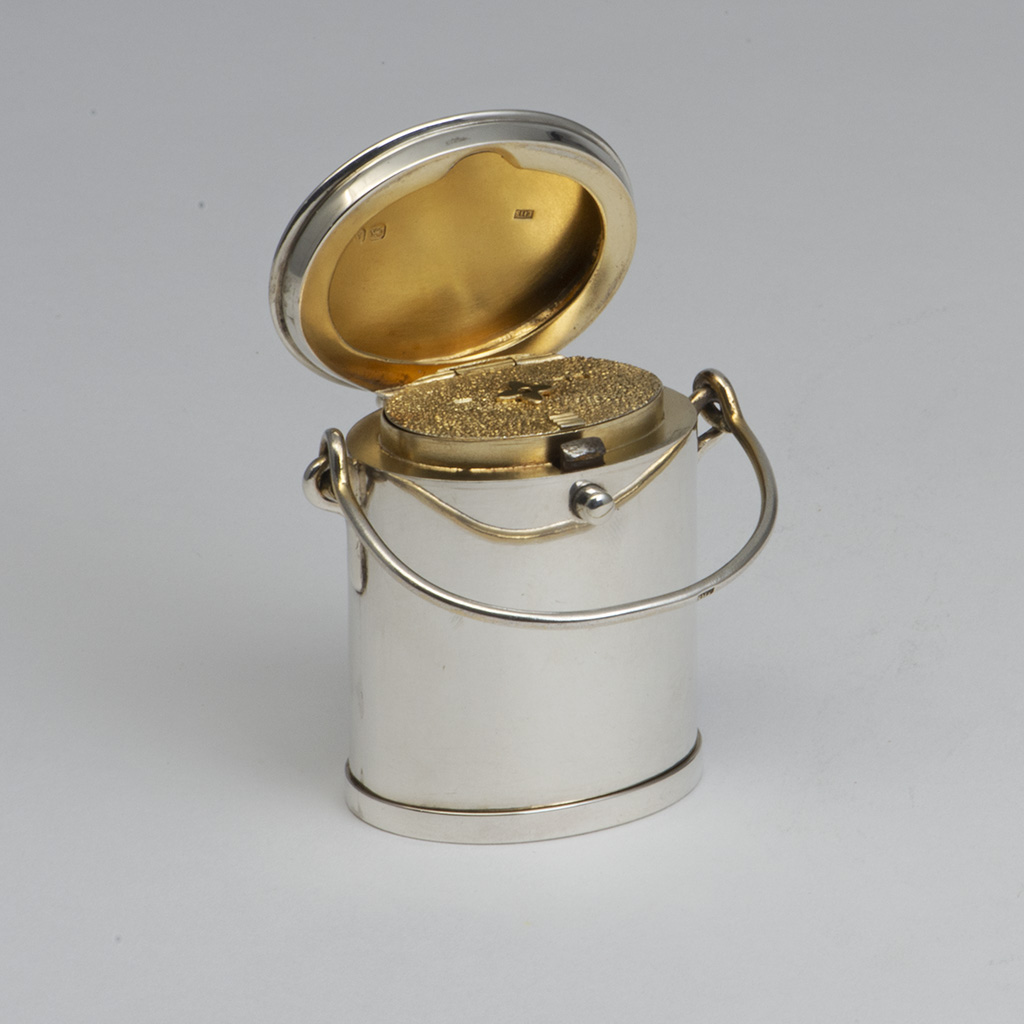 A Victorian Novelty Silver Vesta Box In The Form Of A Dairy Can.