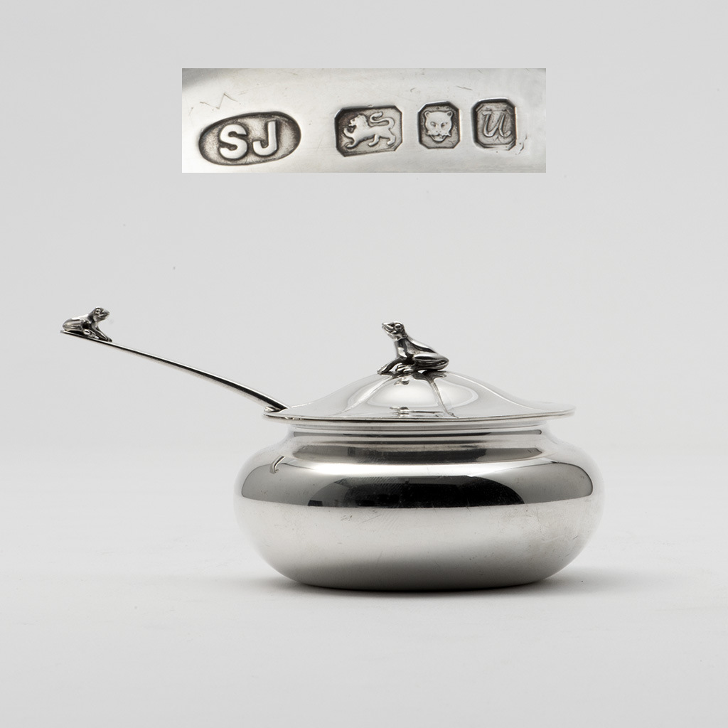 A Silver Frog Bowl And Spoon By Sarah Jones